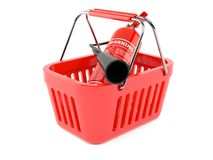 Fire extinguisher inside shopping basket. Isolated on white background. 3d illustration Royalty Free Stock Photography
