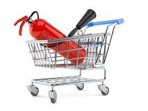 Fire extinguisher inside shopping cart. On white background Stock Image