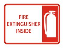Fire Extinguisher Inside Sign on white background,Vector illustration. Equipment safety protection danger alarm emergency security red firefighter system royalty free illustration