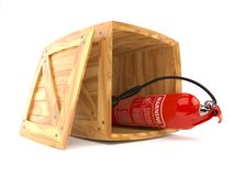 Fire extinguisher inside wooden crate. On white background. 3d illustration Stock Photos