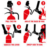 Fire extinguisher instruction vector labels set. Instruction extinguisher and protection of fire with extinguisher illustration Royalty Free Stock Photography