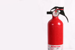 Fire extinguisher isolated. Horizontal, room for text on left royalty free stock image