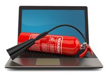 Fire extinguisher with laptop. On white background Stock Photography