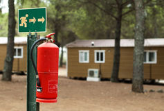 Fire extinguisher and mobile homes Royalty Free Stock Photo