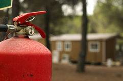 Fire extinguisher and mobile homes Stock Photo