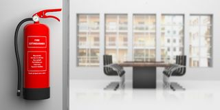Fire extinguisher on office wall, blur meeting room background. 3d illustration. Fire safety, Red fire extinguisher on office wall, blur business meeting Stock Image