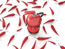 Fire extinguisher with pepprs Stock Images