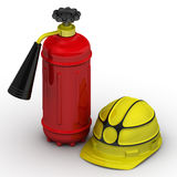 Fire extinguisher and safety helmet. On a white surface. . 3D Illustration Royalty Free Stock Photo