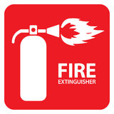 Fire Extinguisher Set 1. Drawing of a red fire extinguisher on the floor Royalty Free Stock Photo
