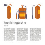 Fire extinguisher set. In modern flat design. Place for your text. Danger info, protection emergency, red fire extinguishers  on white background.  Vector eps10 Stock Photo