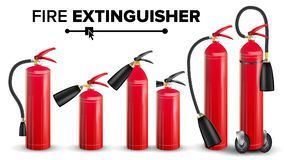 Fire Extinguisher Set Vector. Different Types. Metal Glossiness 3D Realistic Red Fire Extinguisher Isolated Illustration. Red Fire Extinguisher Vector. Metal Red Royalty Free Stock Photo