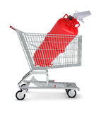 Fire extinguisher in shopping cart. On isolated white background Royalty Free Stock Photos