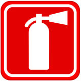 Fire extinguisher sign. Isolated over white Royalty Free Stock Photo