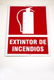 Fire extinguisher sign Stock Photo
