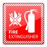 Fire Extinguisher Sign. Red Fire Extinguisher Sign isolated on white. Vector Illustration Stock Images