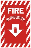 Fire Extinguisher Sign. Sign indicating a fire extinguisher is below Stock Photography
