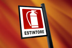 Fire extinguisher sign (5). Fire extinguisher sign with italian text on red orange background stock images