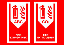 Fire Extinguisher Sign. Red & white fire extinguisher signs royalty free illustration
