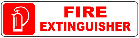 Fire extinguisher sign. Fire extinguisher banner. Vector warning icon on red Royalty Free Stock Photo