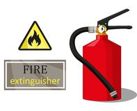 Fire extinguisher sign flammable and the inscription. Red fire extinguisher  3d, a yellow and black sign flammable and an inscription on a white background | Stock Image