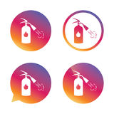 Fire extinguisher sign icon. Fire safety symbol. Gradient buttons with flat icon. Speech bubble sign. Vector Stock Photo