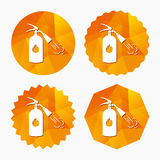 Fire extinguisher sign icon. Fire safety symbol. Triangular low poly buttons with flat icon. Vector Stock Images