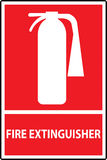 Fire extinguisher sign. Isolated on red. Vector Illustration Royalty Free Stock Photo
