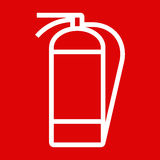 Fire extinguisher sign. On red background Stock Image