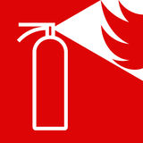 Fire extinguisher sign. On red background Royalty Free Stock Photography