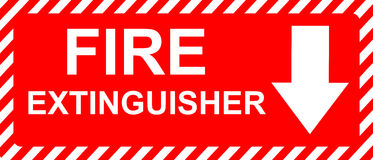 Fire Extinguisher Sign. Red and White Fire Extinguisher Sign Stock Images