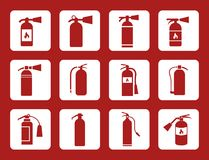 Fire extinguisher sign and vector icons Royalty Free Stock Photo