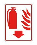 Fire Extinguisher Sign on white background,Vector illustration. Equipment safety protection danger alarm emergency security red firefighter system prevention stock photography