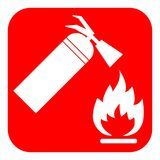 Fire extinguisher sign. White silhouette of a fire extinguisher and flame on a red background. Attention icon in the red square. You can simply change color Stock Photography