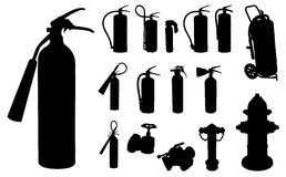 Fire extinguisher silhouette Stock Photos