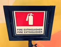Fire extinguisher stand stock photography