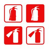 Fire extinguisher stickers safety, equipment, emergency. Vector illustration. Emergency Stock Photo