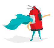 Fire extinguisher super hero. Cartoon illustration of fire extinguisher super hero Stock Photos