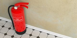 Fire extinguisher on tiles floor, wall background. 3d illustration. Fire safety, Red fire extinguisher on tiles floor, plastered wall, text label, copy space. 3d Royalty Free Stock Images