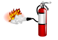 Fire extinguisher use. Extinguisher and fire  on white Royalty Free Stock Photography