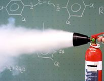 Fire extinguisher is used Royalty Free Stock Image