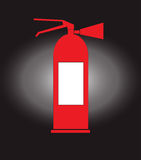 Fire extinguisher vector. Fire extinguisher with gas, vector on black background Stock Image