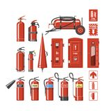Fire extinguisher vector fire-extinguisher to for safety and protection to extinguish fire illustration set of. Extinguishing equipment of firefighter isolated Royalty Free Stock Images