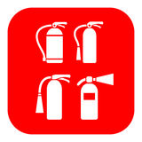 Fire extinguisher vector icon. Fire extinguishers vector icons set Royalty Free Stock Photo