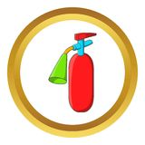 Fire extinguisher vector icon. In golden circle, cartoon style isolated on white background Stock Photography