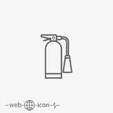 Fire extinguisher vector icon. On grey background Royalty Free Stock Image