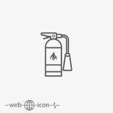 Fire extinguisher vector icon. On grey background Stock Photos