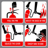 Fire extinguisher vector instruction Royalty Free Stock Images
