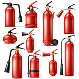 Fire extinguisher vector protection to extinguish flame with fire-extinguisher illustration set of extinguishing. Equipment of firefighter isolated on white stock illustration