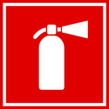 Fire extinguisher vector sign. Fire extinguisher red vector sign Royalty Free Stock Photos
