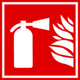 Fire extinguisher vector sign. On white background Stock Images